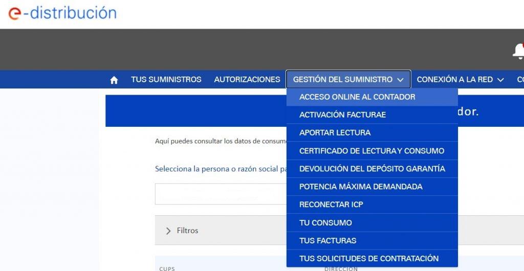 Captura de pantalla del portal E-distribución